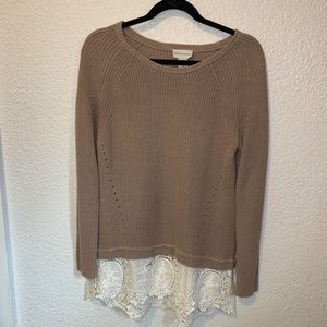Soft Surroundings Lace Bottom Sweater